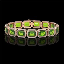 33.37 CTW Peridot & Diamond Halo Bracelet 10K Rose Gold - REF-405T5M - 41550