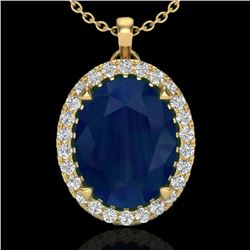 2.75 CTW Sapphire & Micro VS/SI Diamond Halo Solitaire Necklace 18K Yellow Gold - REF-60F2N - 20599