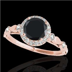 1.25 CTW Certified VS Black Diamond Solitaire Halo Ring 10K Rose Gold - REF-55M5H - 33620