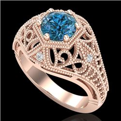 1.07 CTW Fancy Intense Blue Diamond Solitaire Art Deco Ring 18K Rose Gold - REF-218M2H - 37552