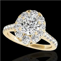 2 CTW H-SI/I Certified Diamond Solitaire Halo Ring 10K Yellow Gold - REF-210X9T - 34080