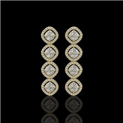 5.28 CTW Cushion Cut Diamond Designer Earrings 18K Yellow Gold - REF-981Y6K - 42811
