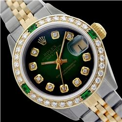 Rolex Men's Two Tone 14K Gold/SS, QuickSet, Diam Dial & Diam/Emerald Bezel - REF-557N3A