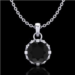 0.85 CTW Fancy Black Diamond Solitaire Art Deco Stud Necklace 18K White Gold - REF-81H8A - 37366