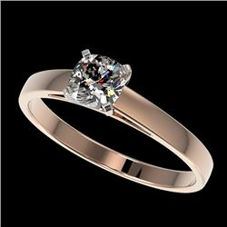 0.50 CTW Certified VS/SI Quality Cushion Cut Diamond Solitaire Ring 10K Rose Gold - REF-64H3A - 3296