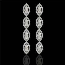 5.33 CTW Marquise Diamond Designer Earrings 18K White Gold - REF-986N2Y - 42656