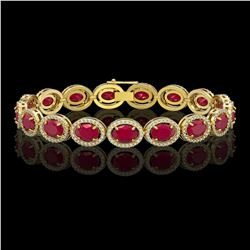 22.89 CTW Ruby & Diamond Halo Bracelet 10K Yellow Gold - REF-291W5F - 40606