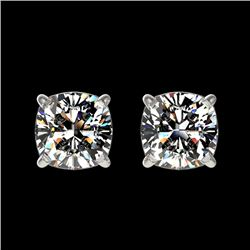 1 CTW Certified VS/SI Quality Cushion Cut Diamond Stud Earrings 10K White Gold - REF-147M2H - 33066