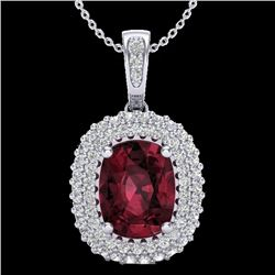 2.60 CTW Garnet & Micro Pave VS/SI Diamond Halo Necklace 10K White Gold - REF-65M5H - 20408