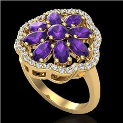 3 CTW Amethyst & VS/SI Diamond Cluster Designer Halo Ring 10K Yellow Gold - REF-52F2N - 20772