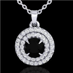 1 CTW Micro Pave VS/SI Diamond Necklace Double Halo 18K White Gold - REF-62A5X - 21537