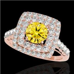 2.3 CTW Certified Si/I Fancy Intense Yellow Diamond Solitaire Halo Ring 10K Rose Gold - REF-254Y5K -