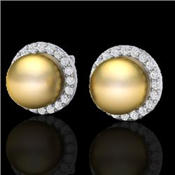 0.50 CTW Micro Pave Halo VS/SI Diamond & Golden Pearl Earrings 18K White Gold - REF-61H3A - 21494