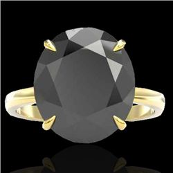 9 CTW Black VS/SI Diamond Designer Engagement Ring 18K Yellow Gold - REF-210T4M - 22096
