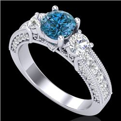 2.07 CTW Intense Blue Diamond Solitaire Art Deco 3 Stone Ring 18K White Gold - REF-254W5F - 37782
