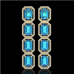 18.99 CTW Swiss Topaz & Diamond Halo Earrings 10K Yellow Gold - REF-184X4T - 41605