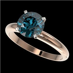2 CTW Certified Intense Blue SI Diamond Solitaire Engagement Ring 10K Rose Gold - REF-417M6H - 32939