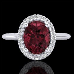 1.75 CTW Garnet & Micro Pave VS/SI Diamond Ring Solitaire Halo 18K White Gold - REF-43F6N - 21012