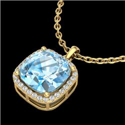 6 CTW Sky Blue Topaz & Micro Halo VS/SI Diamond Necklace 18K Yellow Gold - REF-68W5F - 23090