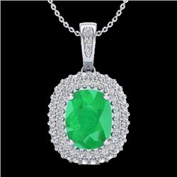 3.15 CTW Emerald & Micro Pave VS/SI Diamond Halo Necklace 18K White Gold - REF-90X9T - 20413
