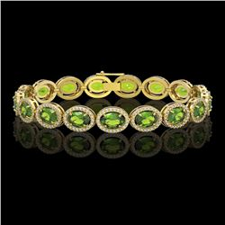 21.13 CTW Peridot & Diamond Halo Bracelet 10K Yellow Gold - REF-286F5N - 40630