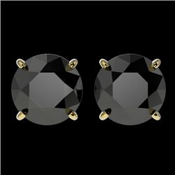 3.18 CTW Fancy Black VS Diamond Solitaire Stud Earrings 10K Yellow Gold - REF-66T8M - 36699
