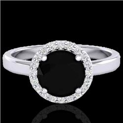 2 CTW Halo VS/SI Diamond Micro Pave Ring Solitaire 18K White Gold - REF-78F8N - 21620