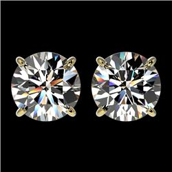 2.57 CTW Certified H-SI/I Quality Diamond Solitaire Stud Earrings 10K Yellow Gold - REF-435K2W - 366