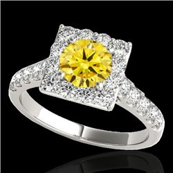2 CTW Certified Si/I Fancy Intense Yellow Diamond Solitaire Halo Ring 10K White Gold - REF-210X9T -