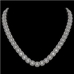 32.64 CTW Cushion Diamond Designer Necklace 18K White Gold - REF-5967T6M - 42623