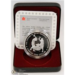 1988 CANADIAN PROOF SILVER DOLLAR IN DISPLAY