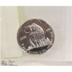 2006 CANADIAN WOLF 1/2OZ SILVER COIN.