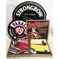 BOX OF BEER SIGNS & PICTURE/DECOR