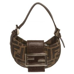 Fendi Brown Tan Micro Zucca Baguette Bag