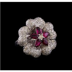1.00 ctw Ruby and Diamond Ring - 18KT White Gold