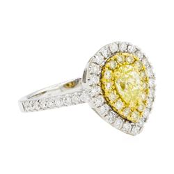 0.96 ctw Yellow and White Diamond Ring - 14KT White And Yellow Gold