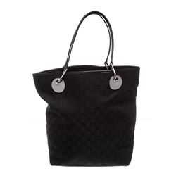 Gucci Black Monogram Canvas Leather Eclipse Tote Bag