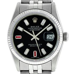 Rolex Mens 36mm Stainless Steel Black Diamond And Ruby Datejust Wristwatch
