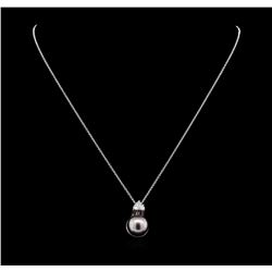 0.33 ctw Pearl and Diamond Pendant - 14KT White Gold