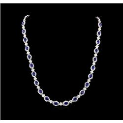 16.81 ctw Sapphire and Diamond Necklace - 14KT White Gold