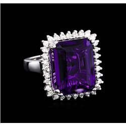 12.82 ctw Amethyst and Diamond Ring - 14KT White Gold