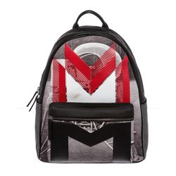 MCM Red Black Coated Canvas Moonwalker Series Backpack