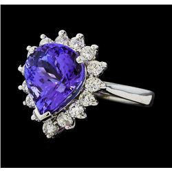 4.92 ctw Tanzanite and Diamond Ring - 14KT White Gold