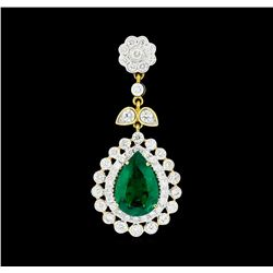 3.61 ctw Emerald And Diamond Pendant - 18KT Yellow Gold with Rhoidum Plating