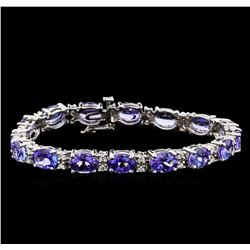 19.90 ctw Tanzanite and Diamond Bracelet - 14KT White Gold