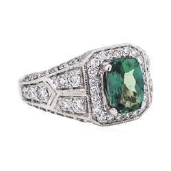 1.95 ctw Alexandrite And Diamond Ring - 14KT White Gold