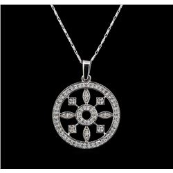 14KT White Gold 0.54 ctw Diamond Pendant With Chain