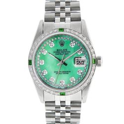 Rolex Mens SS Green MOP String Diamond & Emerald Datejust Wristwatch