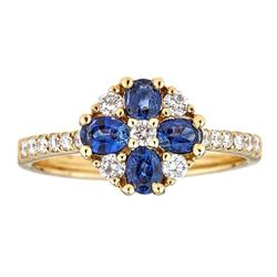 0.83 ctw Sapphire and Diamond Ring - 18KT Yellow Gold