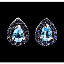 1.65 ctw Blue Topaz and Sapphire Earrings - 14KT White Gold